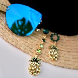 Pineapple statement earrings, crystal drop dangle